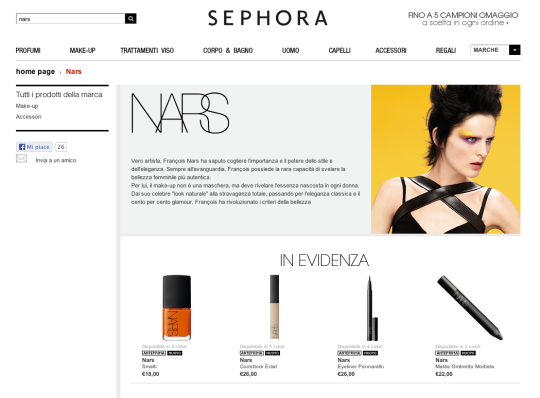 NARS in vendita online su Sephora.it