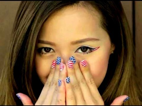 Nail art bandiera USA Michelle Phan